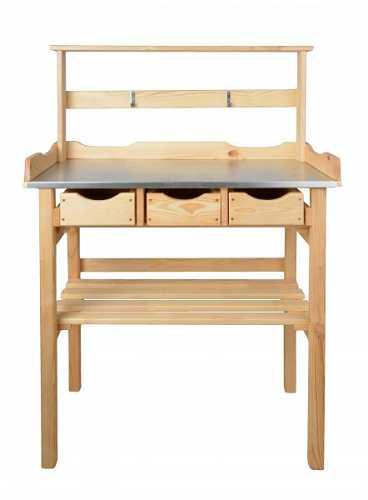 pflanztisch 80x40x117 cm kiefer natur verz arbeitsplatte 3 schubladen deluxe ebay. Black Bedroom Furniture Sets. Home Design Ideas